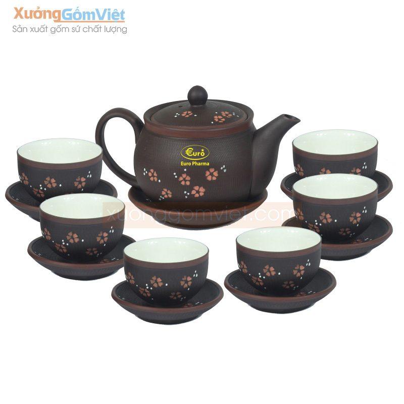 Bộ trà Tử sa vẽ hoa đào in logo