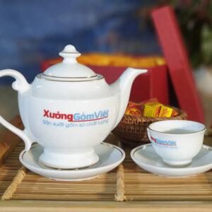 Bình trà sứ trắng viền kim in logo ATK-04