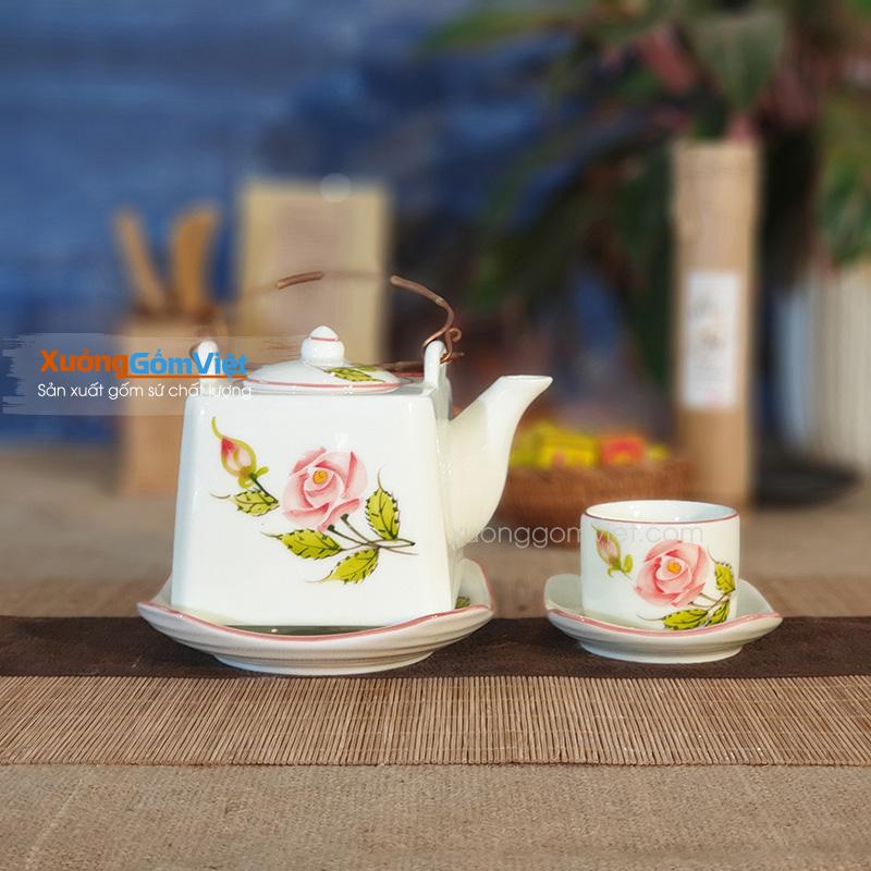 Bộ trà vuông hoa hồng ATH-03