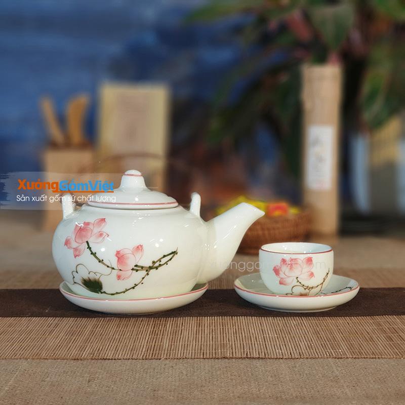 Bộ trà vẽ sen thấp ATH-02