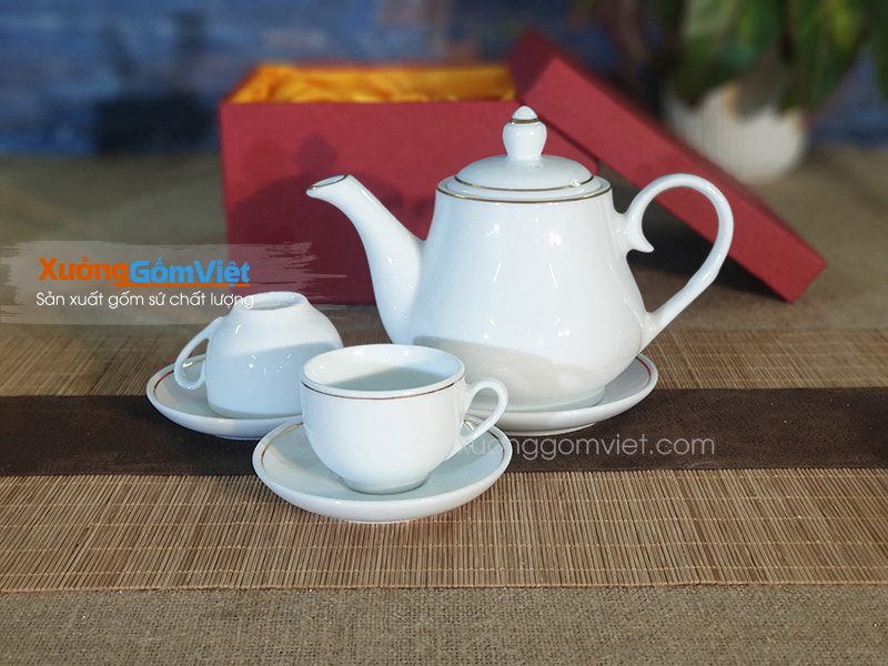 Bộ trà trắng viền kim ATK-55