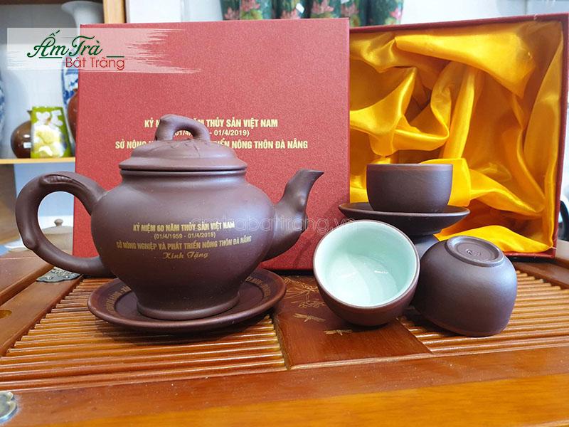 Bộ trà Tử Sa Bát Tràng in logo