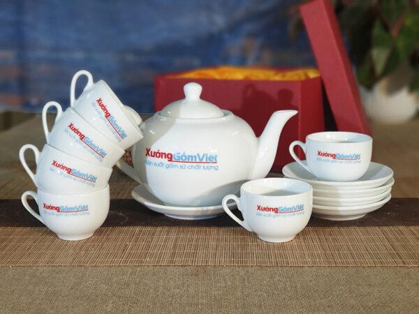 Bộ ấm trà Bát Tràng sứ trắng cao cấp AT-57