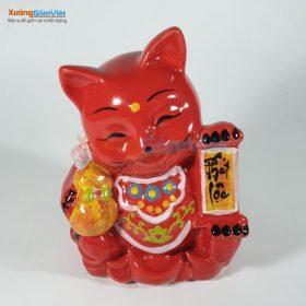 Ống heo mèo Thần Tài bằng gốm sứ