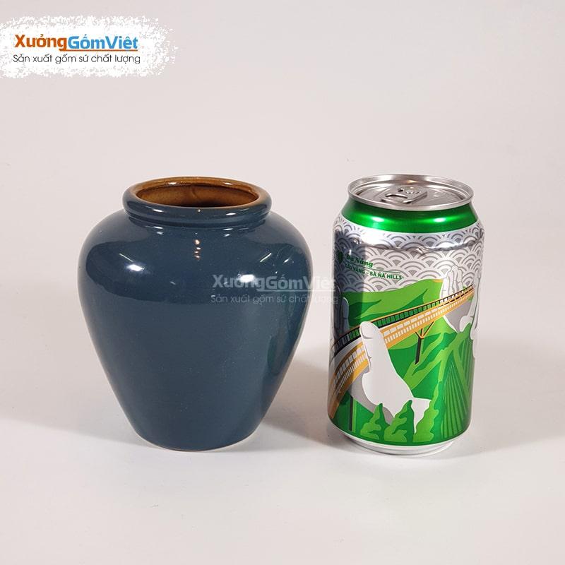 Lu uống bia sứ Bát Tràng 400ml xanh dương