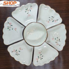 Set bát đĩa bàn ăn 7 món hoa mặt trời đẹp