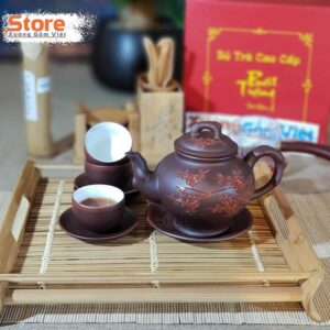 Bộ ấm trà Tử Sa khắc đào ATS-80