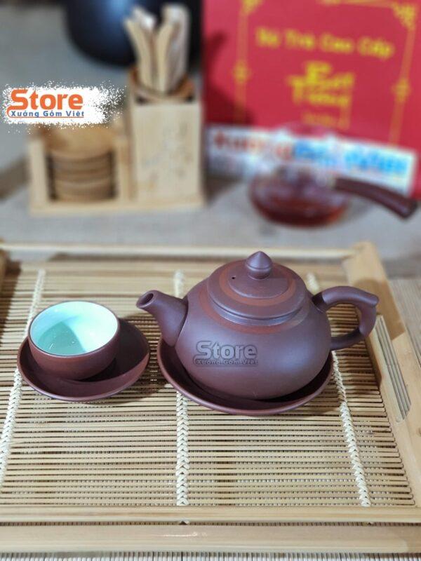 Bộ trà Tử Sa đẹp kẻ chỉ đỏ ATS-78