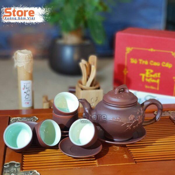 Bộ trà Tử Sa đẹp đắp nổi ATS-76