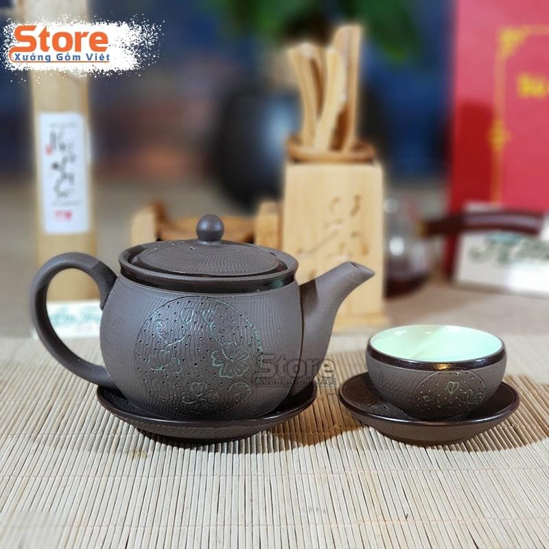 Bộ trà Tử khắc sen xanh ATS-73