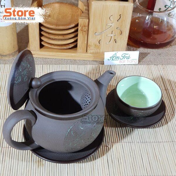 Bộ trà Tử khắc hoa xanh ATS-73