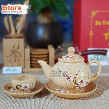 Bộ trà Bát Tràng vẽ hoa ATV-94