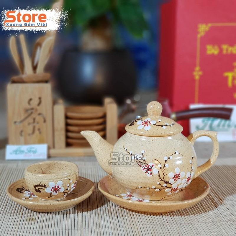 Bộ trà Bát Tràng vẽ hoa ATS-94