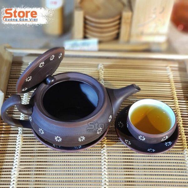 Bộ ấm trà Tử Sa khắc hoa ATS-71