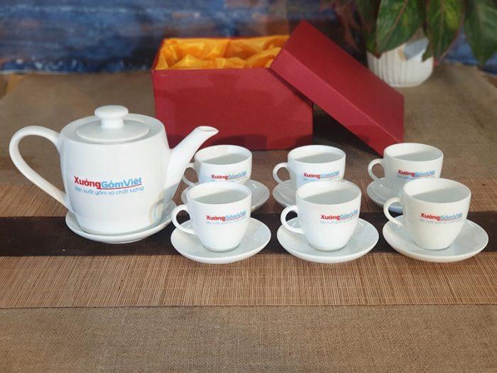 ấm trà in logo xưởng gốm việt