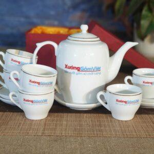 Bộ trà sứ trắng cao chỉ vàng