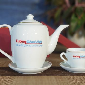 bộ ấm trà trắng cao , in logo