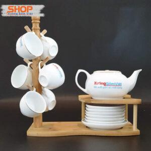 Bộ trà sứ trắng Bát Tràng chỉ vàng ATK-02