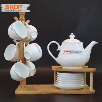 Bộ ấm chén uống trà viền kim đẹp ATK-55