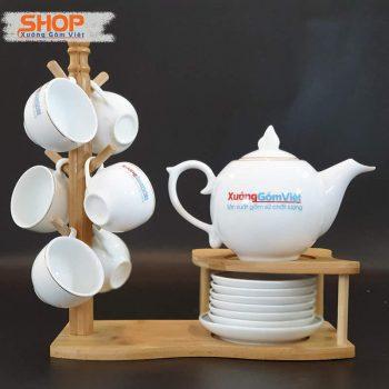 Bình trà trắng viền kim cao cấp ATK-59