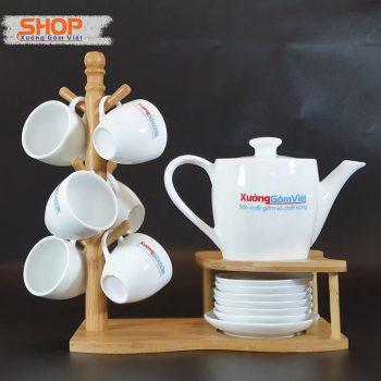 Bộ trà sứ trắng Bát Tràng giá rẻ AT-56