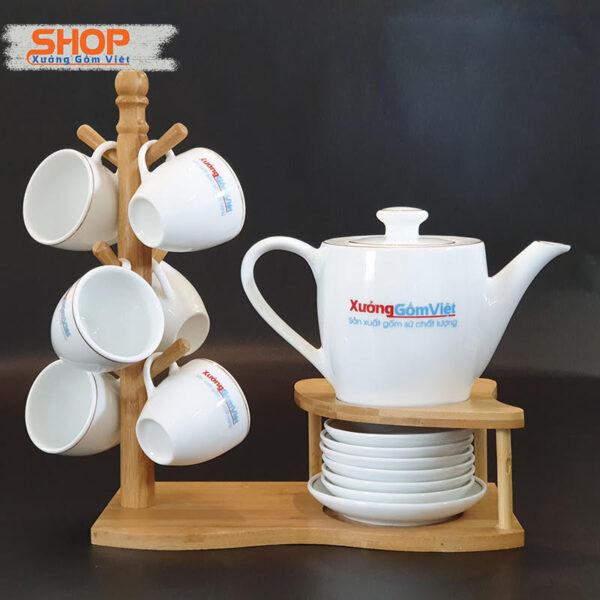 Bình trà sứ trắng Bát Tràng viền kim AT-56