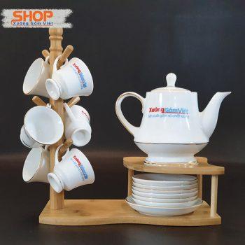 Bộ trà sứ trắng viền kim đẹp ATK-10