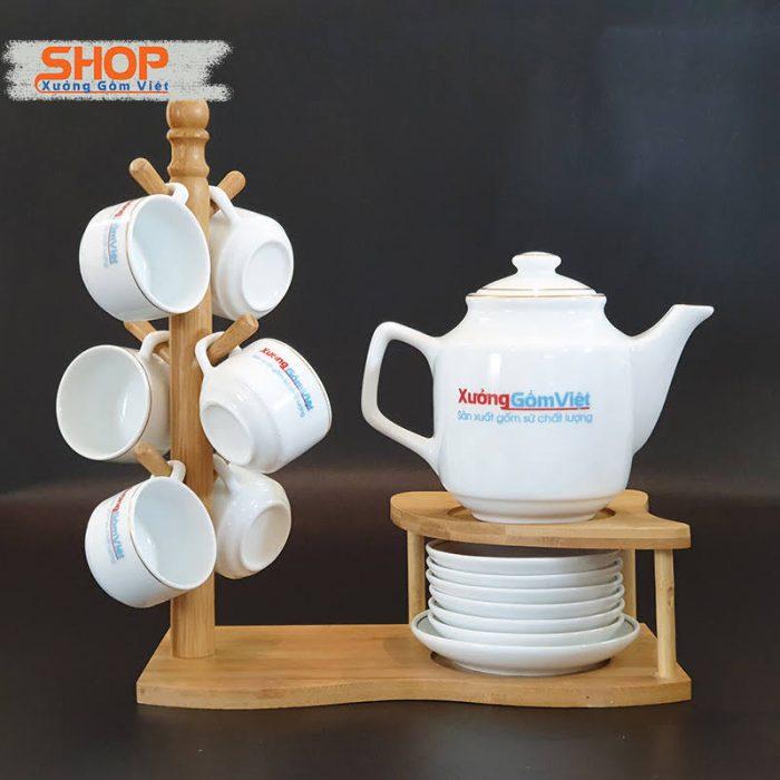 Bộ trà sứ Bát Tràng viền kim giá rẻ ATK-62