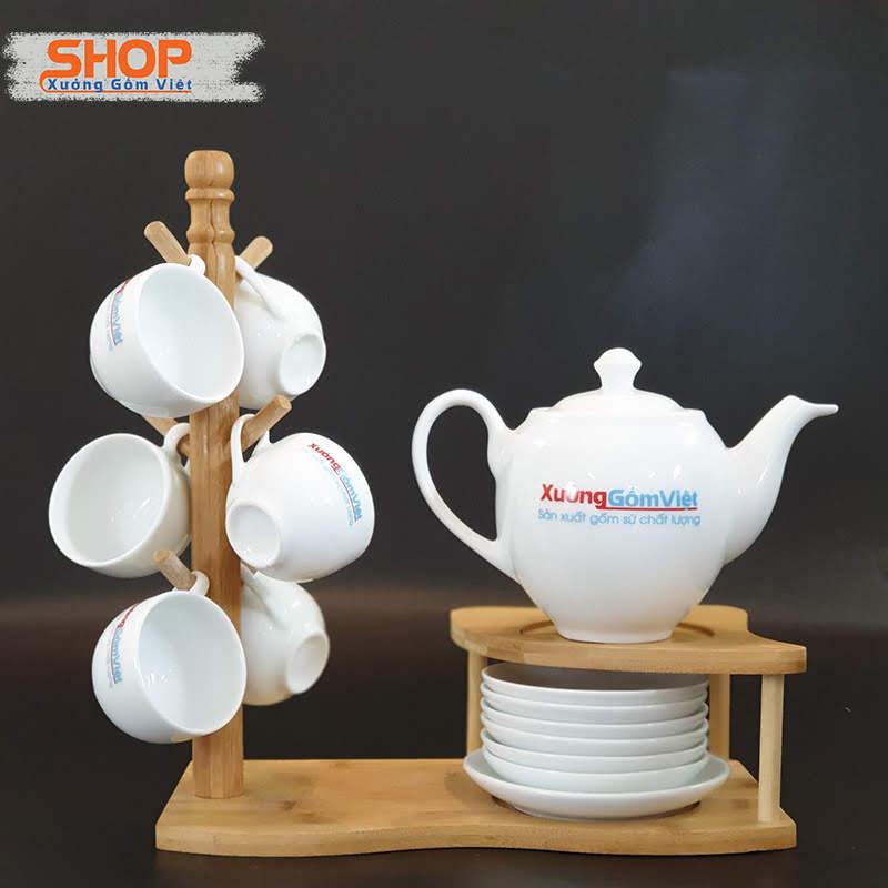 Bình trà sứ trắng Bát Tràng đẹp giá rẻ AT-58