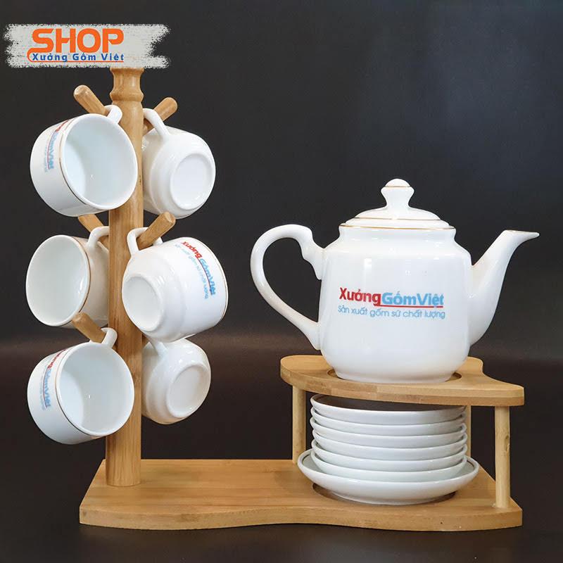 Bộ trà trắng Bát Tràng viền kim ATK-07
