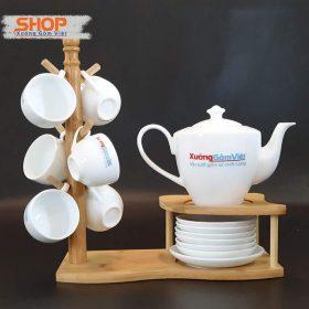 Bộ ấm trà Bát Tràng in logo đẹp AT-61