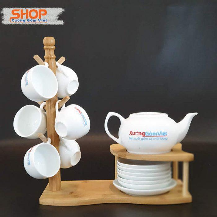 Bộ ấm chén uống trà sứ trắng cao cấp AT-02