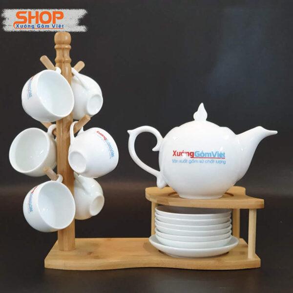 Bộ ấm trà sứ trắng in logo đẹp giá rẻ AT-59