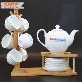 Bộ trà sứ trắng viền kim đẹp giá rẻ ATK-58