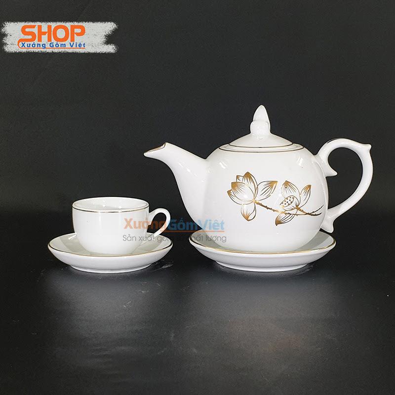Bộ trà sứ trắng viền kim in logo ATK-18