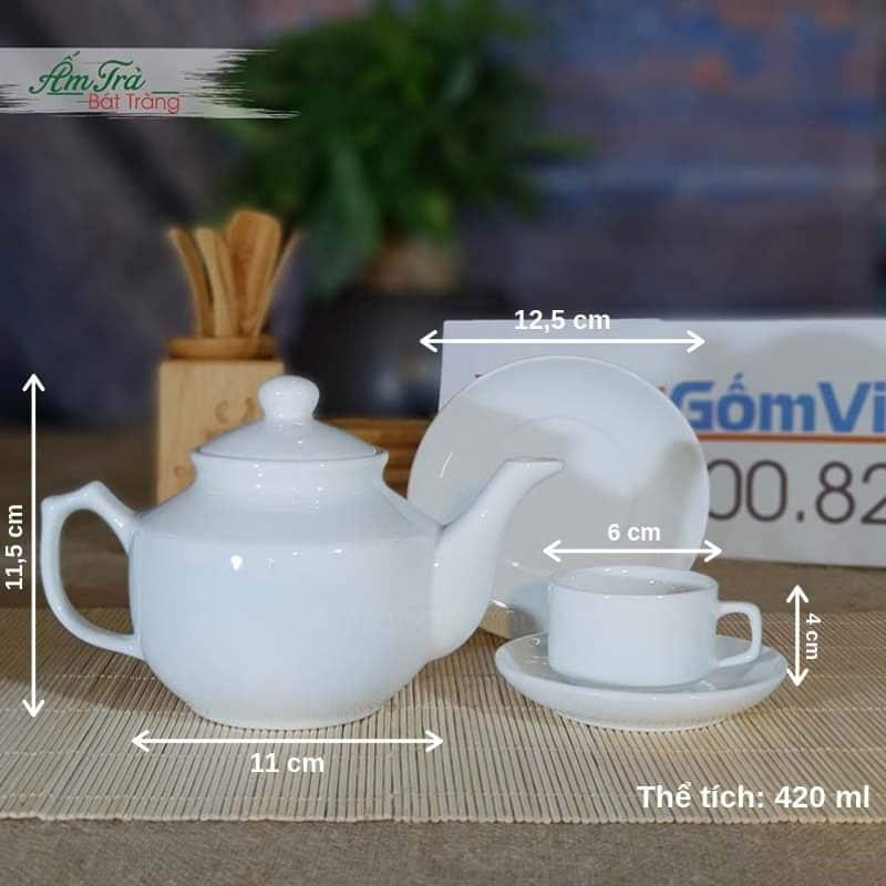 Bộ trà sứ vuông thấp