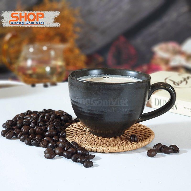 Tách cà phê sứ đen Bát Tràng CSM-M35