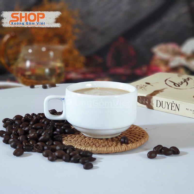 Cốc cafe Capuchino sứ trắng CST-M38