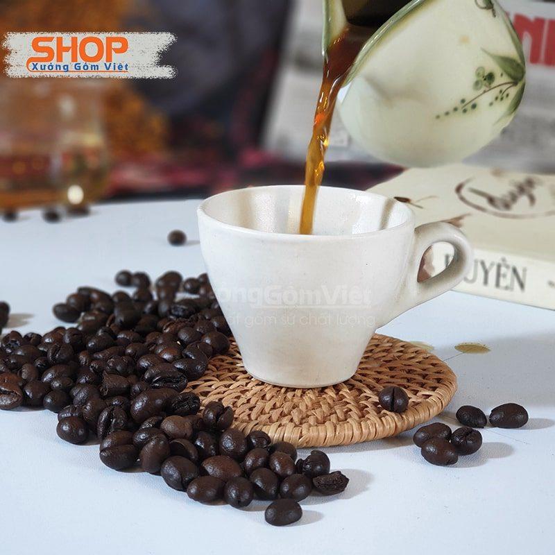 Tách sứ trắng espresso quai dày CST–M36