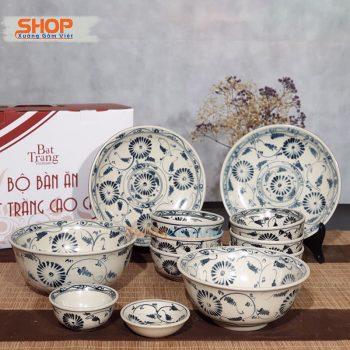 Bộ bát đĩa gốm sứ giả cổ độc đáo BD12-04