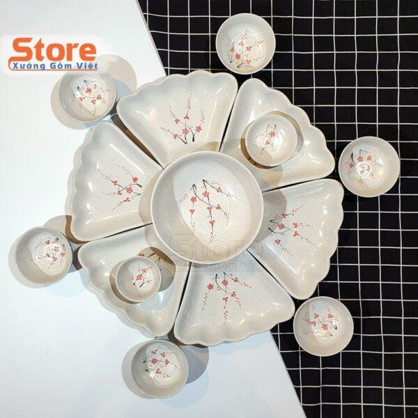 Bộ bát đĩa sứ Bát Tràng cao cấp 15 món
