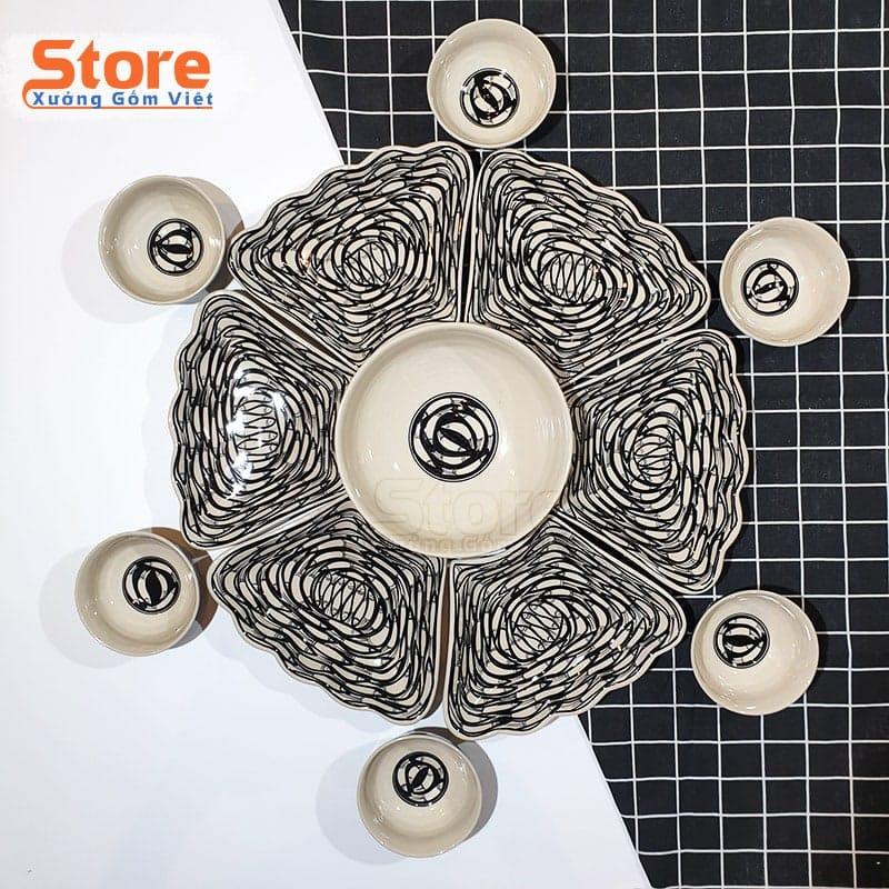 Bộ bát đĩa bàn ăn hoa mặt trời sứ cao cấp