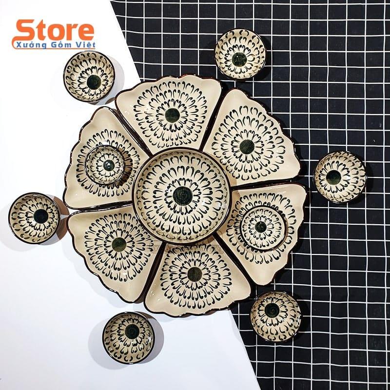 Bộ bát đĩa hoa mặt trời 15 món