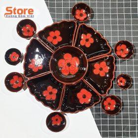 Set bát đĩa hoa mặt trời cao cấp 15 món