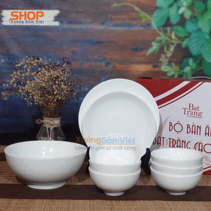 Bộ bát đĩa sứ trắng nhà hàng giá rẻ BD9-07