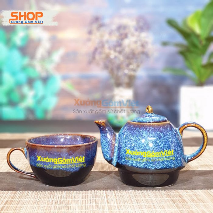 Bộ ấm trà độc ẩm Bát Tràng đẹp ATHB-01
