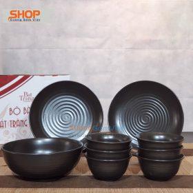 Bộ chén dĩa sứ màu đen nhà hàng  BD9-08