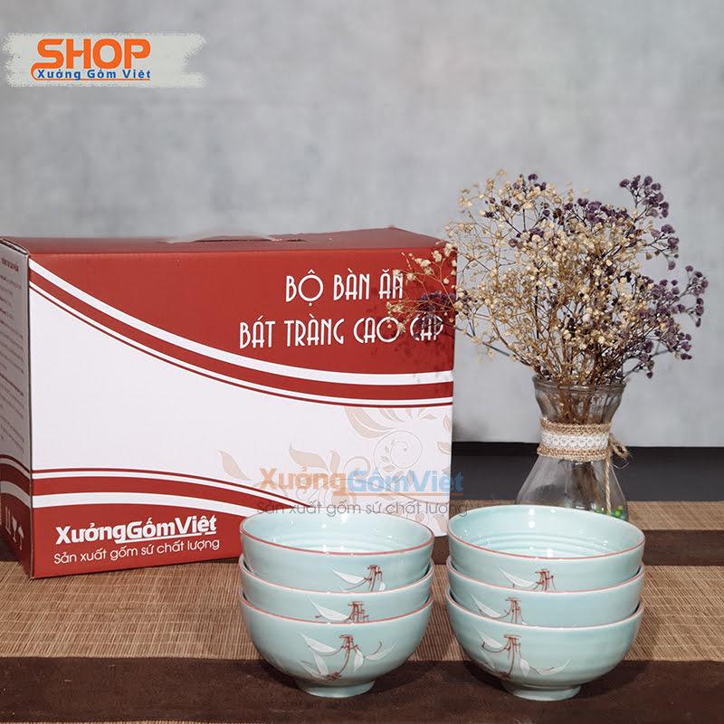 Bộ 6 chén ăn cơm sứ Bát Tràng đẹp BC-03