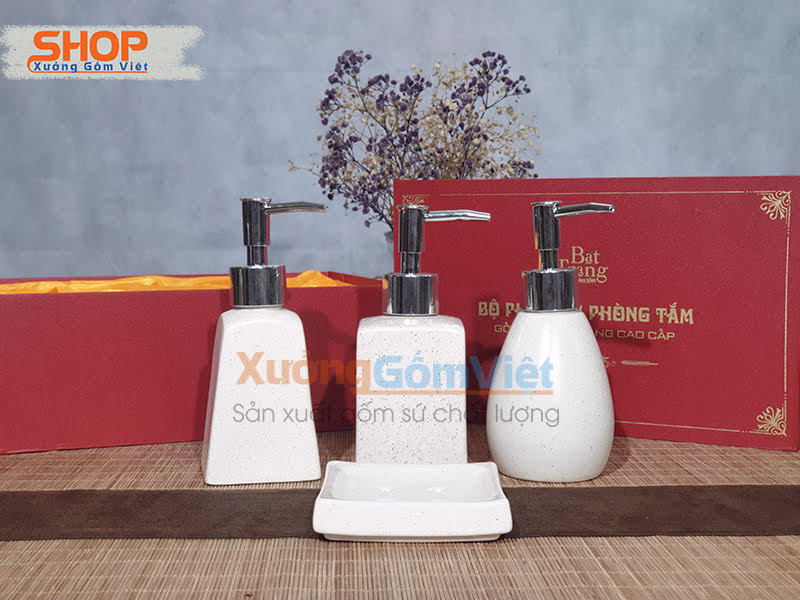 Bộ phụ kiện nhà tắm sứ trắng đẹp PKNT-103