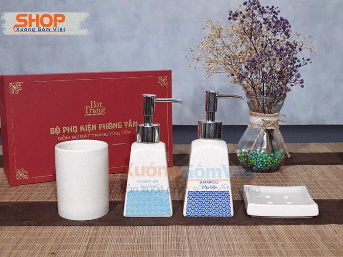 Bộ phụ kiện nhà tắm in chữ, logo PKNT-102